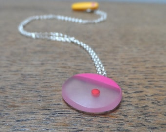 resin pendant - mini cerise and red spot pendant