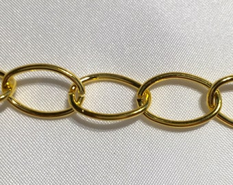 Large Oval Link Gold Chain 3 Feet