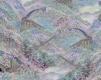 Great Wall China Flowers Artworks Quilting Treasures Fabric 1 yard