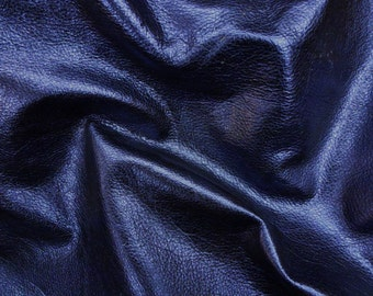 """NAVY Pebbled Metallic 15""""x15"""" SOFT cowhide - shows the grain - Leather 3-3.25 oz / 1.2-1.3 mm PeggySueAlso™ E4100-07"""