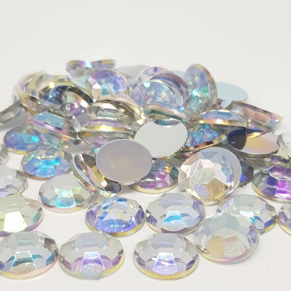 MajorCrafts® 60pcs 12mm Crystal AB Flat Back Taiwan Acrylic Rhinestones Gems C38
