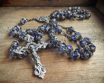 Sterling Silver Rosary with Blue Czech Crystal Beads, Silver Crucifix, Religious Jewelry
