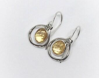 Earrings Citrine, Yellow Gemstone, Sterling Silver, Crystal Natural Gemstone, Drop Earrings, Good Luck Gift, Women's Jewellery