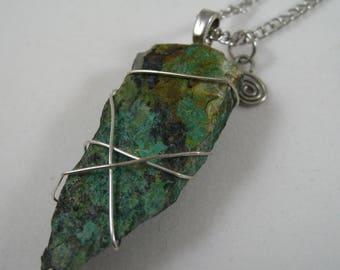Wire Wrapped Malachite Pendant OOAK