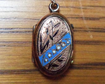 Antique Victorian Enamel Mourning Locket New 14K Gold GF Chain Necklace