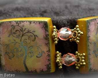 Pink Art Nuveau Tree polymer clay tile bracelet