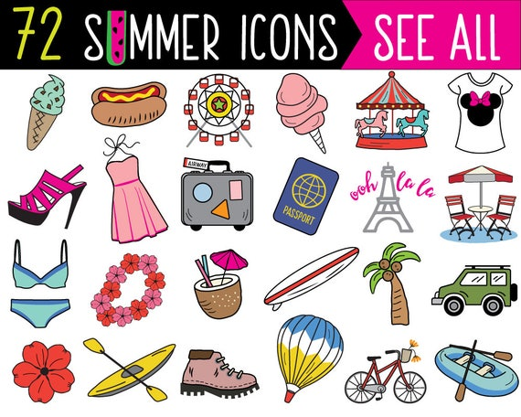 mega bundle summer clipart summer clip art printable planner rh etsy com clipart stickers free stickers clipart black and white