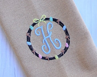 Cotton Burlap Kitchen Towel - Easter Wreath Monogram
