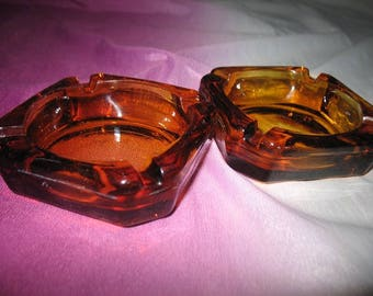 Vintage Clear Brown Glass Ash Trays