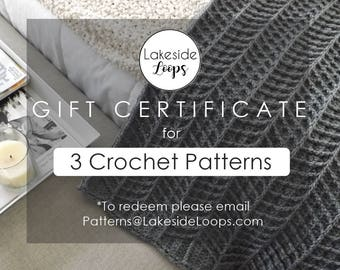 GIFT CERTIFICATE - 3 Crochet Patterns