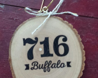 716 Buffalo Wood Slice Ornament