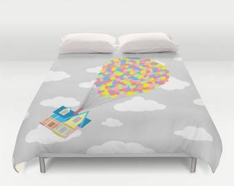Disney Duvet, Up! Over Gray Sky and White Clouds Duvet, Adventure is Out There, Disney's Up! Over Sky and Clouds 2 Duvet Cover