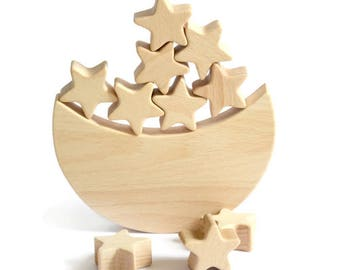Moon and Stars wooden toy for children Wooden toddler toy Educational toys Space themed nursery decor wood gifts balance toy gift for boy