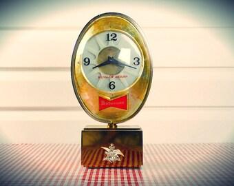 Working! Vintage Midcentury Budweiser Clock Beer Advertising, American-Made by Anheuser-Busch