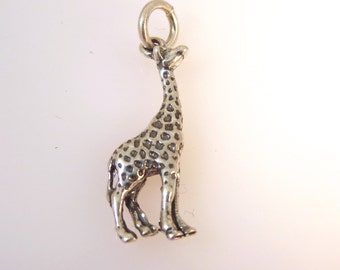Sterling Silver 3-D GIRAFFE Charm Pendant .925 Sterling Silver 925 Safari Africa Animal New an24