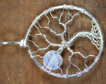 Full Moon Tree of Life Pendant Rainbow Moonstone Miniature Tree Sterling Silver Wire Wrapped Jewelry Affordable Luxury Phoenix Fire Designs