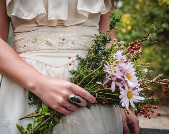 Cream Silk Floral and Lace Bridal Sash