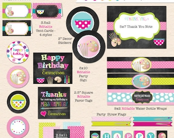 Pottery Painting Birthday Party (Chalkboard Style) - DIY Printable Party Pack - INSTANT DOWNLOAD!