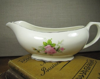 Vintage Porcelain Gravy Boat - Pink Rose and Rosebuds