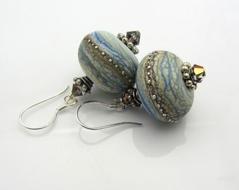 Lampwork Earrings Mottled Blue with Mottled Ivory Banding Etched Earrings Glass Bead Earrings Dangle Drop Earrings Handmade Earrings SRAJD