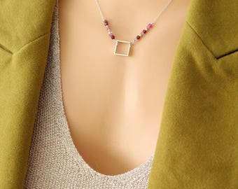 Square Necklace with Pink Tourmaline, Red Garnet and Sterling Silver Gold Plated Beads, Dainty and Cute Rolo Chain, Layering, Minimalist
