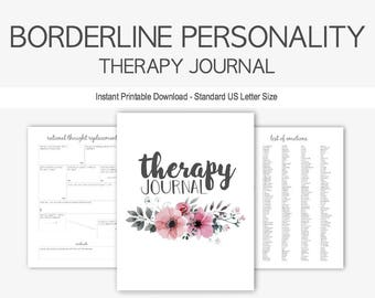 Borderline Personality Disorder Therapy Journal: Mental Health, Depression, Anxiety, Impulse Control, Attachment, Instant Printable Download