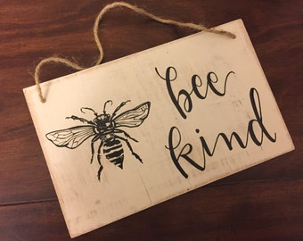 FREE SHIPPING | Bee Kind | Rope Hanger | Bee Keeper | Bees