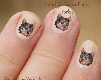 Yorkshire Terrier hond Nail Art Stickers, Yorkie Decals, fotografische nail art, nagel stickers, hond stickers