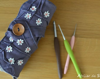 Crochet Hook Case hook organizer ready to ship gift wrapped in Rich lavender hand dyed linen crochet hook organizer amour ultra violet