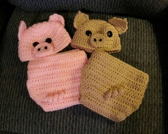 Infant Pig Hat and Diaper Cover