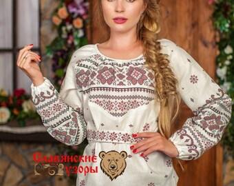 "Cotton Blouse ""Dobromira"", russian blouse, slavic blouse, ethnic blouse, russian cloth, long sleeve blouse, cotton woman shirt"