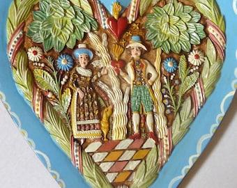 Vintage Handmade Folk Art Austria Wedding Heart Wall Plaque by Lasa Family
