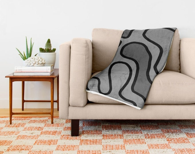 Gray Soft Fleece Throw Blanket - Bedding - Gray and Black - Fleece Throw Blanket - Made to Order