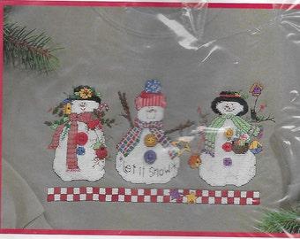Dimensions Let It Snow Waste Canvas Design Snowmen Cross Stitch for Garment Anne McKinney
