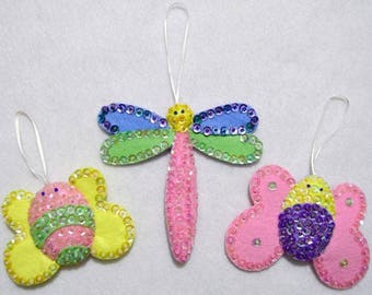 Hand crafted jewelled felt Butterfly~dragonfly~bumble bee bug Easter Spring ornament set~baby shower decoration