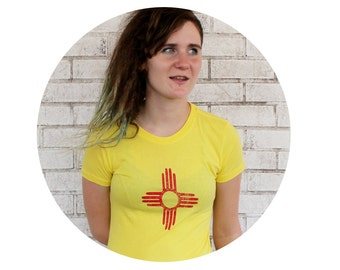 Zia Sun Symbol Graphic Tee Shirt, Hand Screenprinted Clothing, South Western, New Mexico, Arizona, Yellow Tshirt, Ladies, Native American