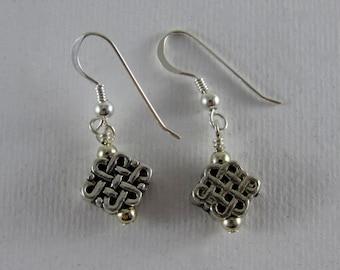 Endless knot silver earrings