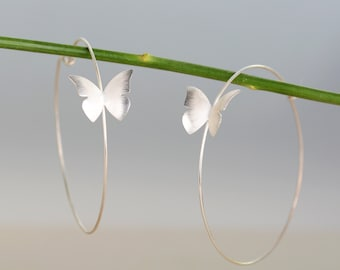 Butterfly hoop earrings, butterfly silver earrings, romantic jewelry, statement earrings, woman gift.
