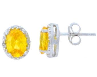 14Kt White Gold Citrine & Diamond Oval Stud Earrings