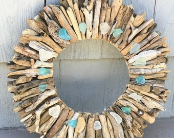"10"" Maine Driftwood Wreath with Sea Glass - Beach Decor - Maine Decor - Driftwood Wall Art - Driftwood Art - Beach Decor"