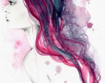 Abstrakte Malerei lila Fashion Illustration Fine Art Giclee Print lila Haar Salon Dekor abstrakte Aquarell Kunst Malerei