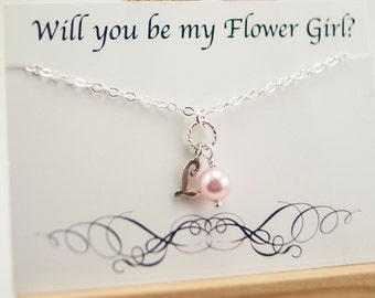 Will You Be My Flower Girl Gift, Flower Girl Necklace Gift with Card, Flower Girl Proposal Necklace Silver Initial Necklace Pink Pearl