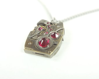 Steampunk Necklace Clockwork Jewelry With Dark Ruby Red Crystals