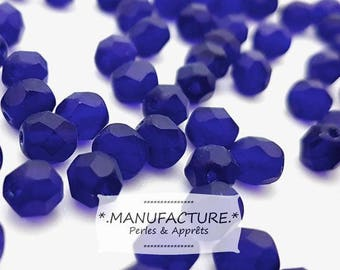 Blue Cobalt matte, Czech glass beads faceted bead 6mm (50pc)