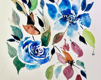 Watercolour Wildflowers and Blue Roses