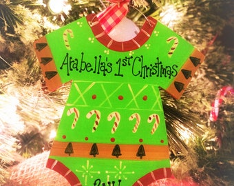 Baby Personalized Onesie Ugly Sweater Christmas Ornament
