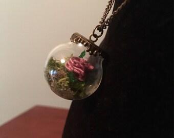 Purple Ribbon Rose- Glass Globe Necklace, fairytale, princess, magic, enchanted forest
