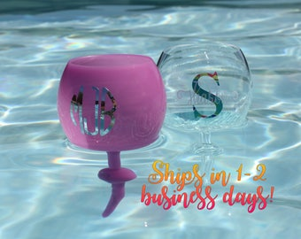 Personalized Floating Wine Glass | Beach staked wine glass | Floating Pool Wine Tumbler | Beach Wine Tumbler | beach glass
