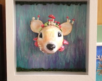 Oh deer! Beautiful realistic giant deer head 3D painting with mushrooms