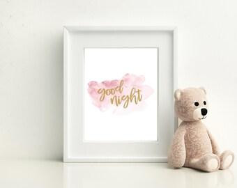 Good Night Nursery Print, Baby Print